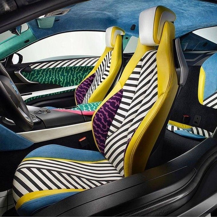 #Alcantara interiors for #BMWi8 MemphisStyle, a unique model made by Garage Italia Customs for #BMWi8 to celebrate the #MemphisDesign.  @bmw @bmwitalia #MemphisStyle #BMWiMemphisStyle #garageitaliacustoms #italianstyle""