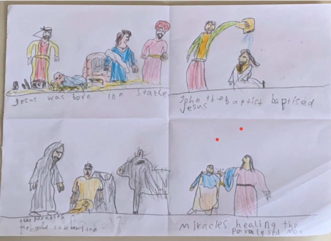Some more examples of fantastic #remotelearning from our Year 6 pupils. Using resources from @OakNational and some great input from their teacher, they created a storyboard about the life of Jesus. Great work all!