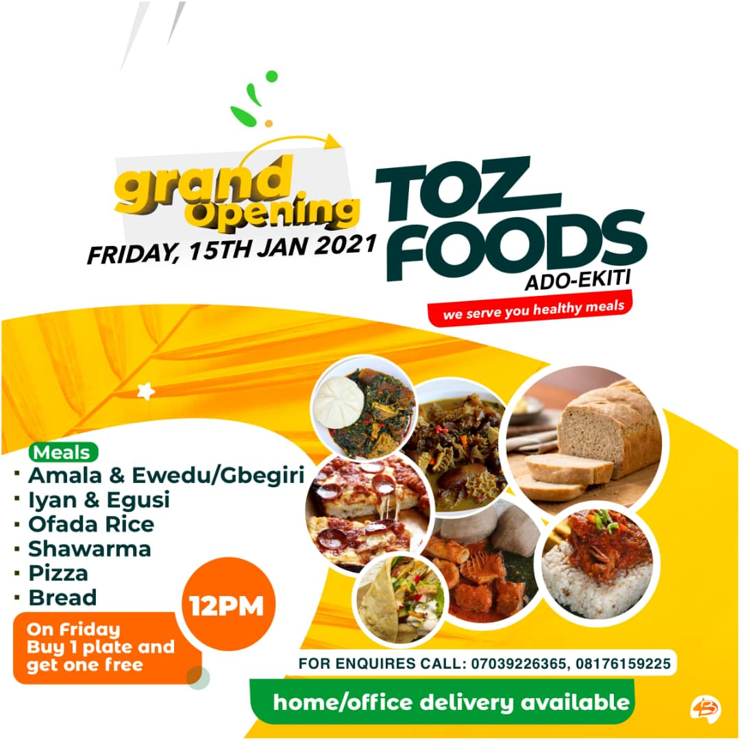 If you and yours are or find yourself in Ado on Friday... That 👇is d place to be...  Trust Bayo and company to add a few free meals...  From 12pm  ✓pizza ✓bread And the Ibadan amala experience  @TozFoods @smokyn_mutair @Gidi_Traffic @bustopsng @SyntacleNig @Letterwriter3