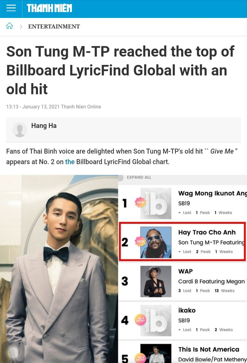 The Thai Binh star officially becomes a Vietnamese artistfirst entered the Billboard LyricFind Global chart. Before Son Tung M-TP, only the 🇵🇭 group #SB19 achieved similar results.  💠   REQUEST @SB19Official @MTV #FridayLivestream   #SB19ikakoOnWishBus