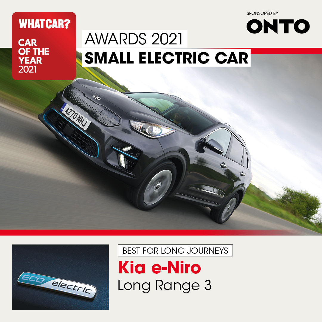 The @KiaUK e-Niro strikes a great balance between comfort and control, plus it offers a spacious interior, punchy performance and one of the longest ranges of any electric car we've ever tested.  It's our best small #electriccar for long distances 💪⚡️  #WhatCarAwards https://t.co/u0rxplXdez