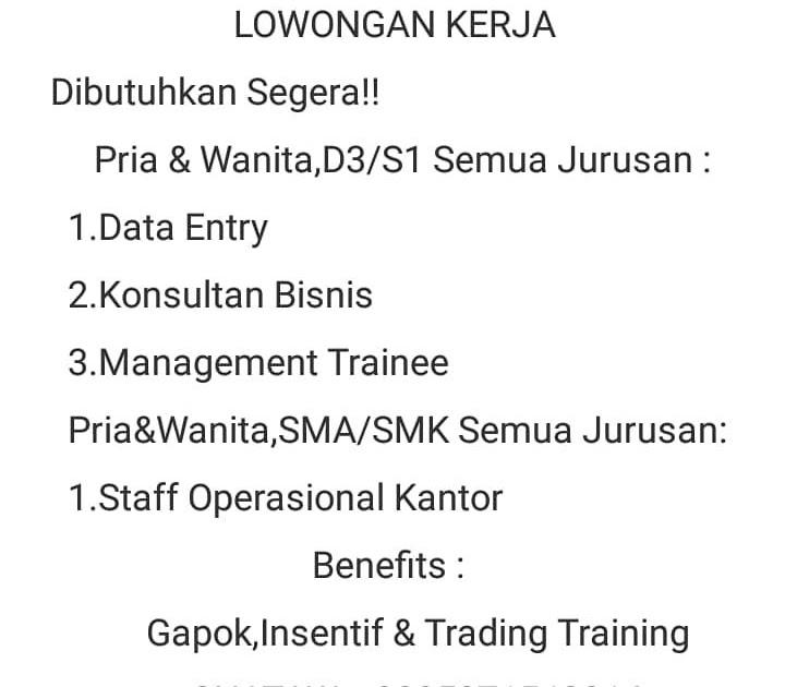 Lowongan Kerja Palembang Terbaru 2020 On Twitter Lowongan Kerja Pt Solid Gold Palembang Https T Co Booeglv8xn