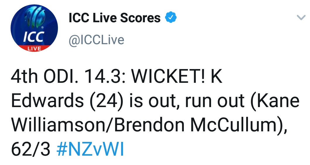 4th ODI. 14.3: WICKET! K Edwards (24) is out, run out (Kane Williamson/Brendon McCullum), 62/3 #NZvWI #NZvsPAK #KaneWilliamson #IndiavsAustralia Year - 2014