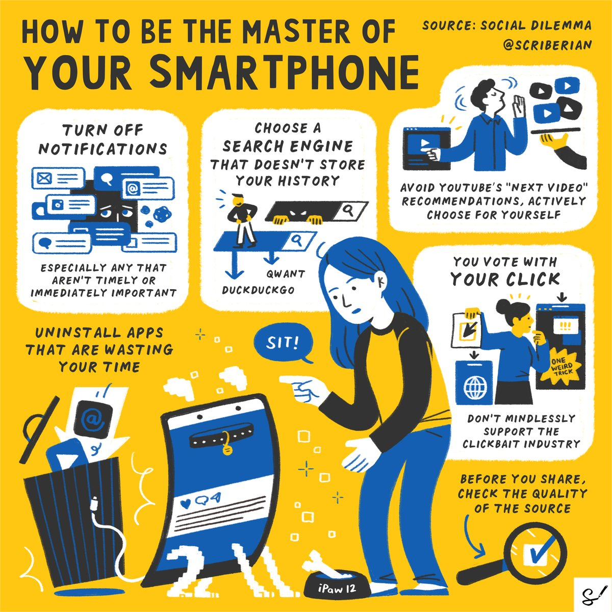 Make 2021 the year you cut down on your screen time with these simple tips for mastering your smartphone, courtesy of the documentary drama, @SocialDilemma_.   Explore our complete #sketchnote archive: . #WednesdayWisdom