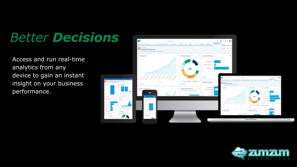 Access and run real-time analytics with Zumzum Financials from any device and make Better Business Decisions.   Start your free trial today.   #ZumzumFinancials #Salesforce #Accounting #CRM #Cloud  #Data #Customer360