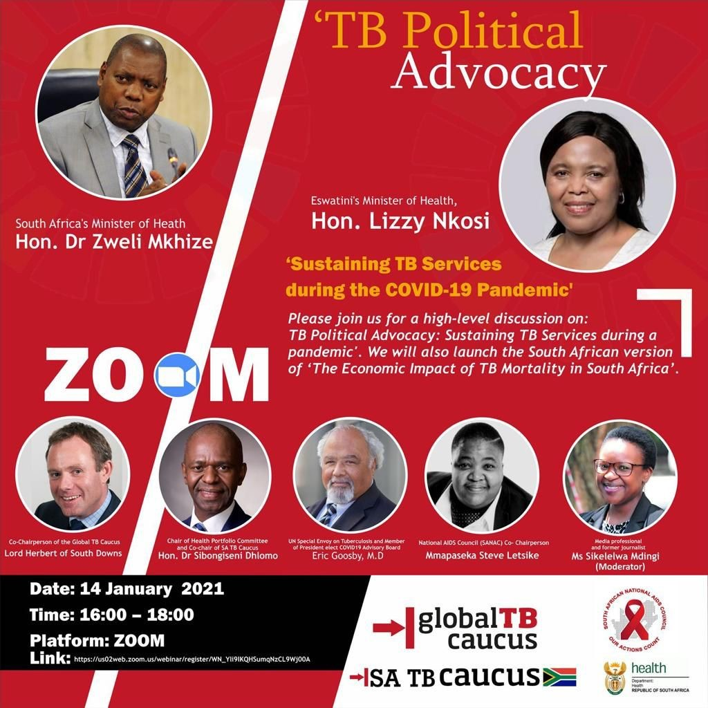 "Happening Now! @SikiGeyaMdingi has just opened the webinar as the moderator. She says, ""We will try to get to the bottom of what should happen to ensure that TB services are sustained in the advent of #COVIDー19 #Covid19InSA."" @DrZweliMkhize @msletsike @HealthZA @SATBCaucus"