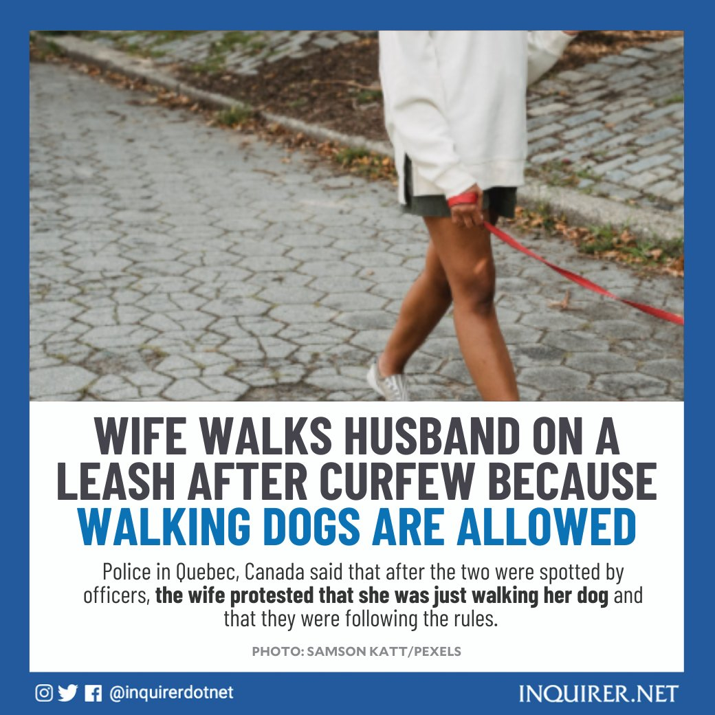 In an attempt to bypass Covid-19 protocols, a couple opted to go on a walk with one of them on a leash, as walking dogs are allowed after curfew hours in Quebec, Canada.   They were eventually given a ticket for their violation.   Read: