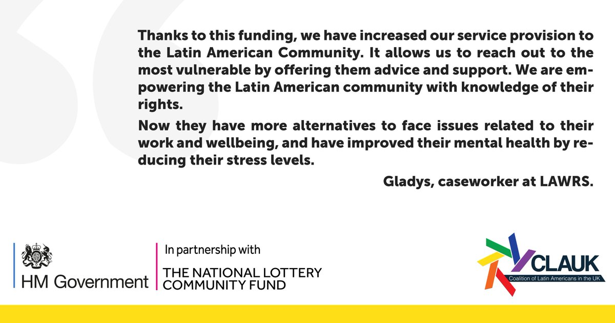 ▶️Funding from the Coronavirus Community Support Fund, distributed by The National Lottery Community Fund @TNLComFund has helped us to increased our service provission, reaching out to the #LatinAmerican community in the #UK. Thank you @DCMS #CommunitiesCan #COVID19