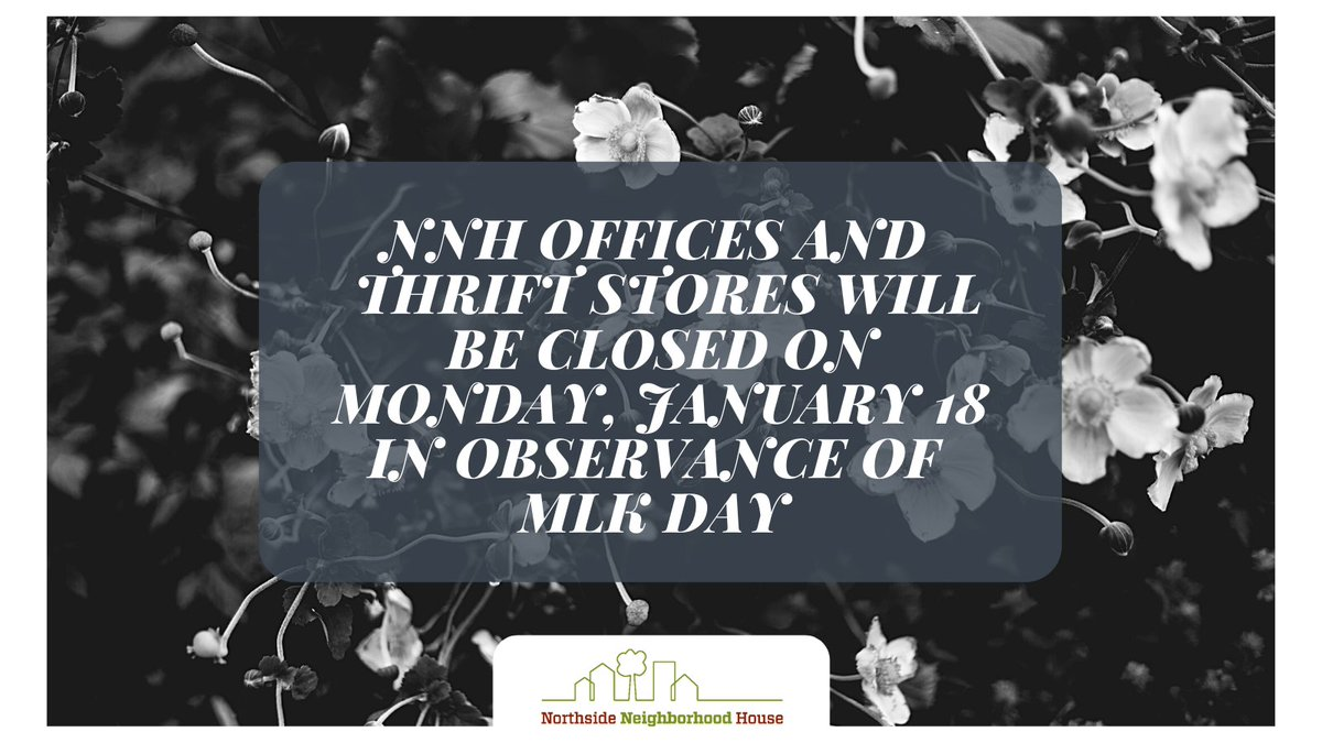 Just a heads up that our offices, Coffee Community Collective, and thrift stores will be closed on Monday, January 18 in observance of Martin Luther King, Jr. Day. We will reopen on Tuesday, January 19!
