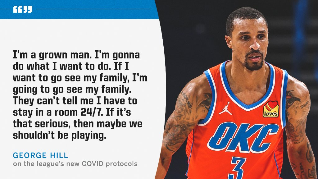 George Hill expressed frustration with the NBA's stricter health and safety protocols.  More: https://t.co/0xeUJRt6Tc https://t.co/pBSZAiImgI