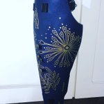 "Loving my new #prosthetic leg 🦵 cover!! Thanks to Will at @FourrouxPro #ATL and the @the_ALLELES team in Canada for brightening my day ☀️ with this gorgeous ""bloom"" design in cobalt blue and gold! Thread: 1/3  #prostheticcover #inclusivedesign #selfexpression #amputee #fashion"