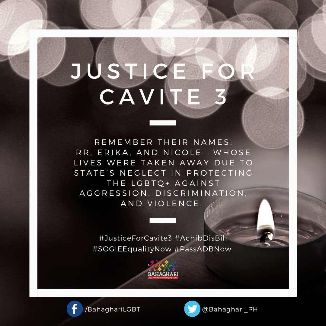 3 LGBTQ+ INDIVIDUALS FOUND DEAD AFTER ABDUCTION IN CAVITE — Bahaghari condemns the killing of three LGBTQ+ individuals in Cavite—RR, Erika, and Nicole—whose remains were found today after being reported missing since December. #JusticeForCavite3 #AchibDisBill #SOGIEEqualityNow