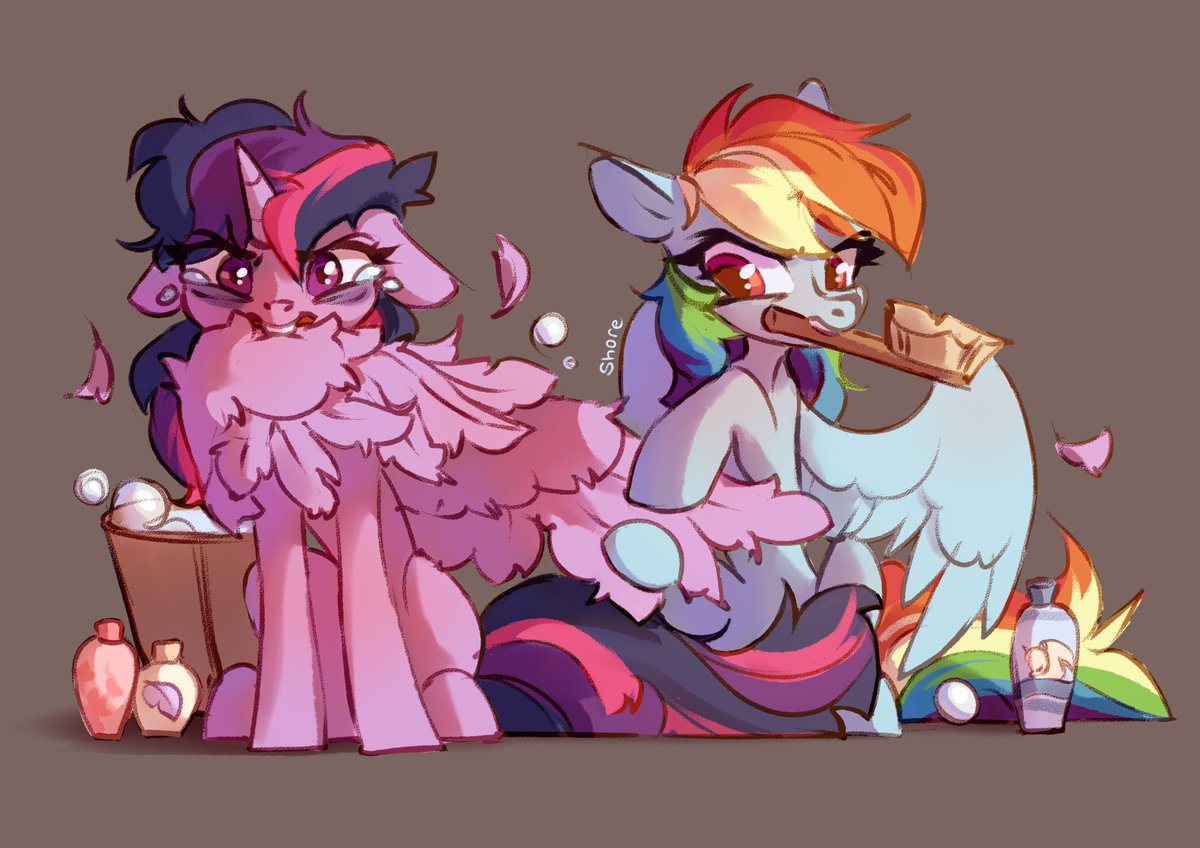 After sleepless night Nostalgia for the days when Twilight was just getting used to living with wings #MLP #MLPFiM #TwilightSparkle #RainbowDash