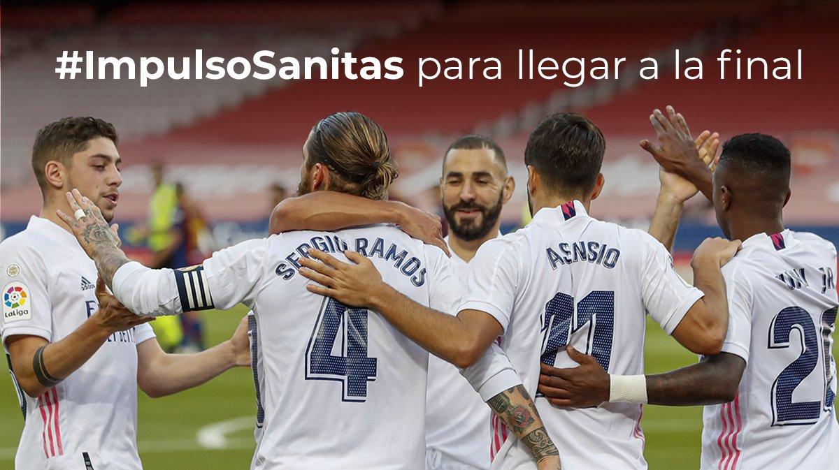 ¡El balón no se detiene! ⚽ Los jugadores del @realmadrid están listos para revalidar el título de supercampeones de España y nosotros orgullosos de acompañarles una vez más ¡Vamos, equipo! 👏 ✌ #HalaMadrid #ImpulsoSanitas