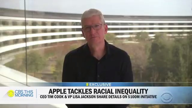 After the senseless killing of George Floyd, @Tim_Cook told his employees that @Apple can and should do more to help combat racial inequality.  Today, the tech giant stepped up to the plate in a big way. He told @GayleKing how a $100M will be spent to make good on his promise.