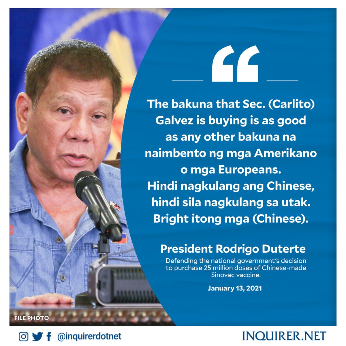 """In his latest speech, Pres. Rodrigo Duterte claimed the vaccine of China's Sinovac Biotech is """"as good as any other vaccine"""" made by American and European firms.  Official data, however, show a visible difference in efficacy rates."""