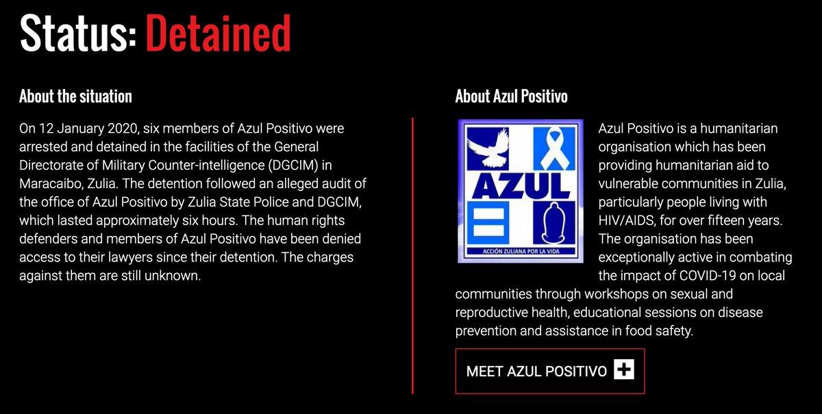 .@FrontLineHRD calls for the immediate release of 6 members of the Venezuelan humanitarian organization @AzulPositivo. Read their full statement here: https://t.co/mZpeQjJ8fe