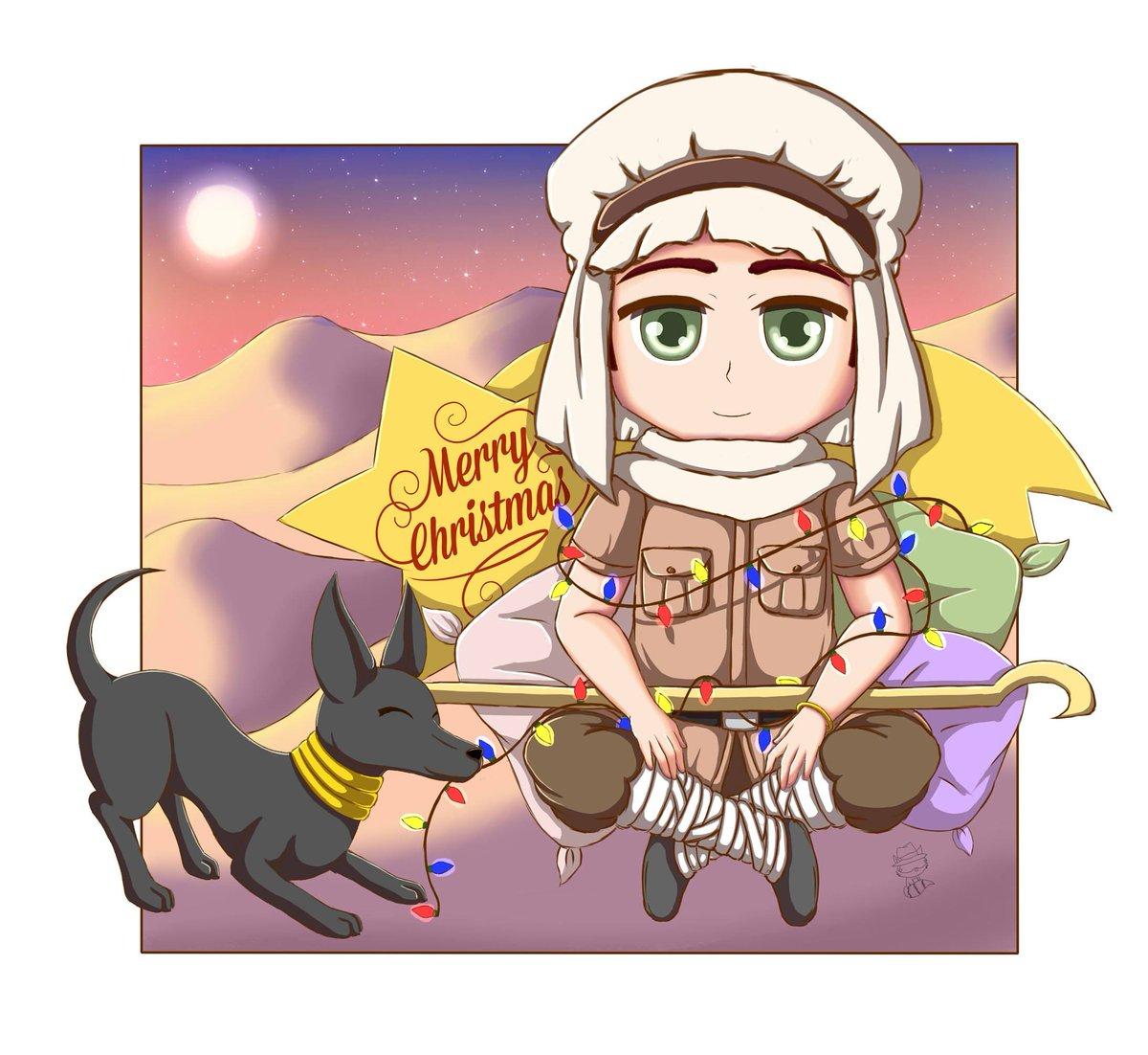 Commission Egipt of Hetalia. . . #Hetalia #Egypt #Egipto #desert #merryxmas #merrychristmas #dog #anubis #star #fanart #picture #chibi #ilustration #aph #photooftheday #art #anime #lights