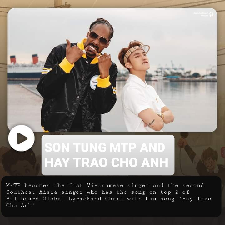 CONGRATULATION SON TUNG M-TP WITH THIS ACHIEVEMENT.   KEEP STREAMING NOT ONLY HTCA BUT ALSO OTHER SONG OF HIM TO HELP SON TUNG HAVE MORE SONGS IN THE INTERNATIONAL MUSIC CHARTS 💙  @sontungmtp777 #SonTungMTP #Billboard #HTCA #giveittome   🔗