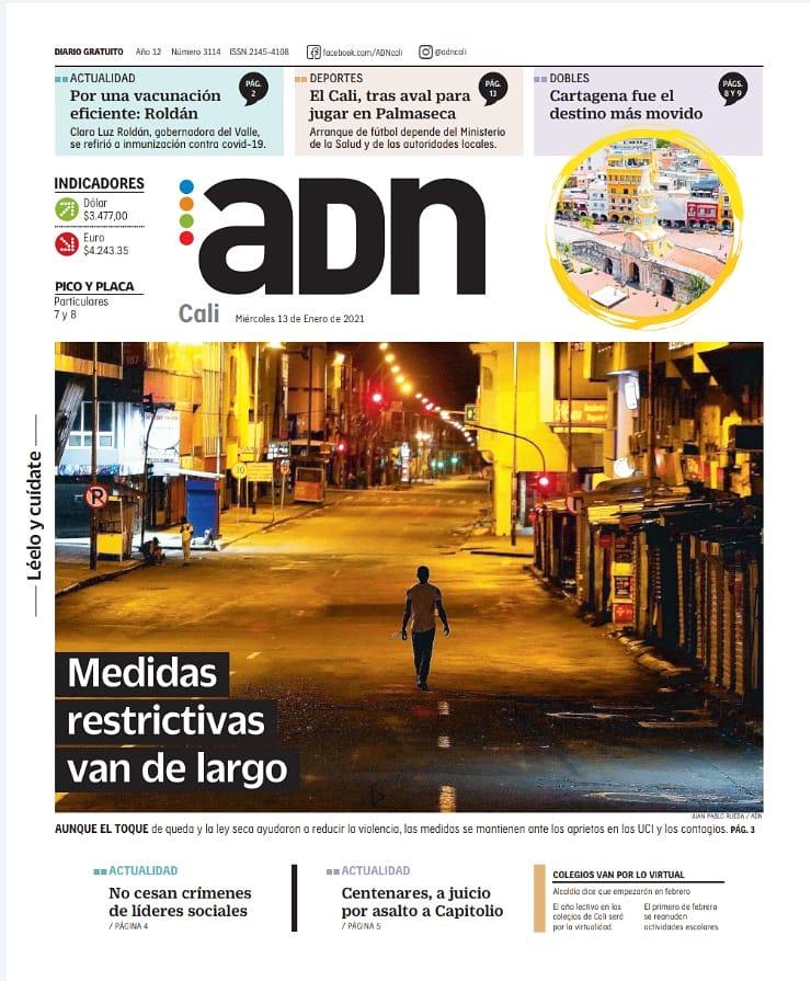 ¡Muy buenos dias! Te invitamos a leer nuestra edición de hoy, miércoles 13 de enero. LéeloYCuídate #EsMiADN #AdnCali https://t.co/Y85LtuqsCM