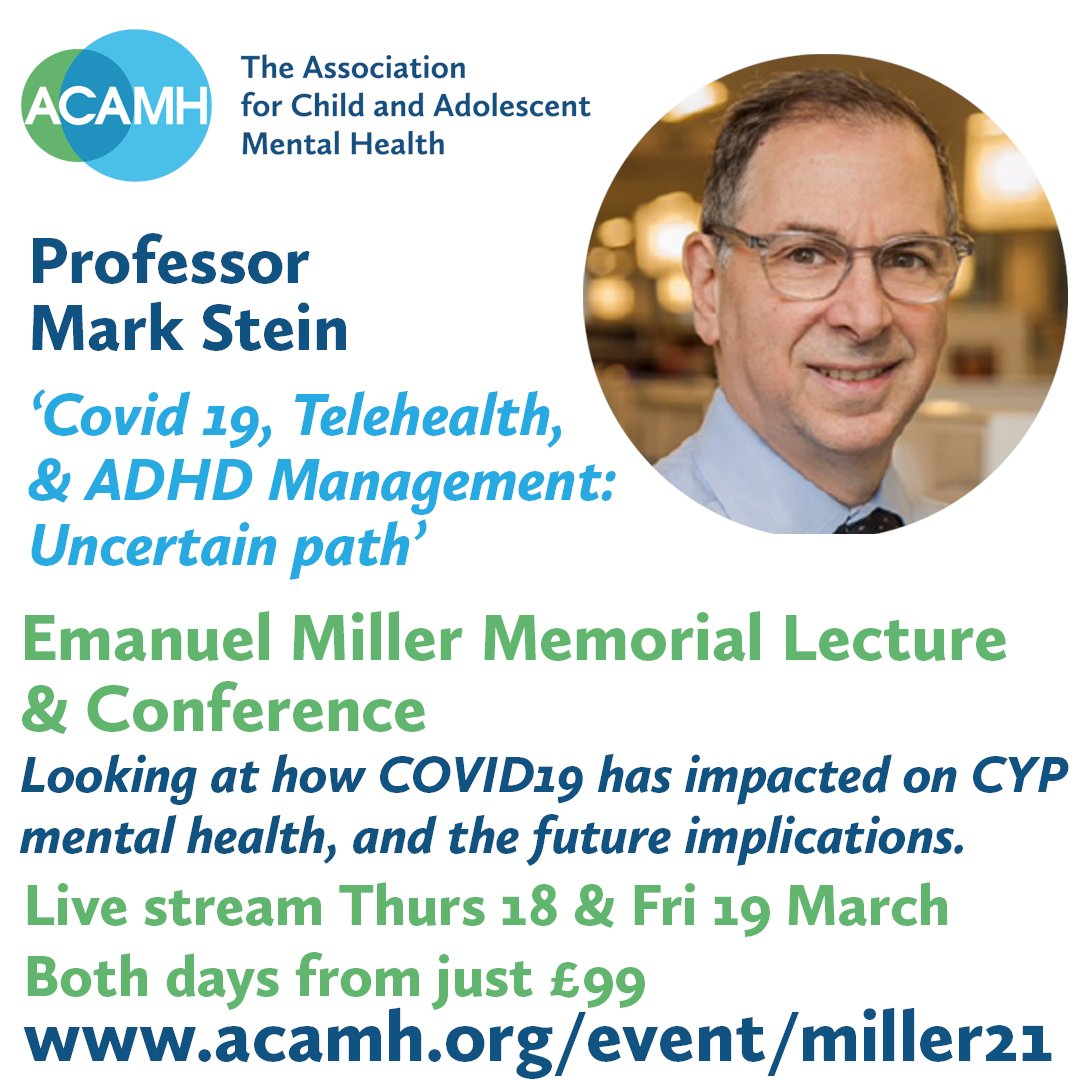 Don't miss @marksteinadhd on #ADHD just one of the amazing speakers @acamh conference on the impact COVID19 has on CYP #mentalhealth. Pls share if of interest @AdhdSig @NikosDaskalakis @HasseDeMeyer @BFranke_lab @DrDamienFair @rusincovitch @ADHD_TCD @DrKoplewicz @DocMolitorPhD https://t.co/UJRAOdfqVl