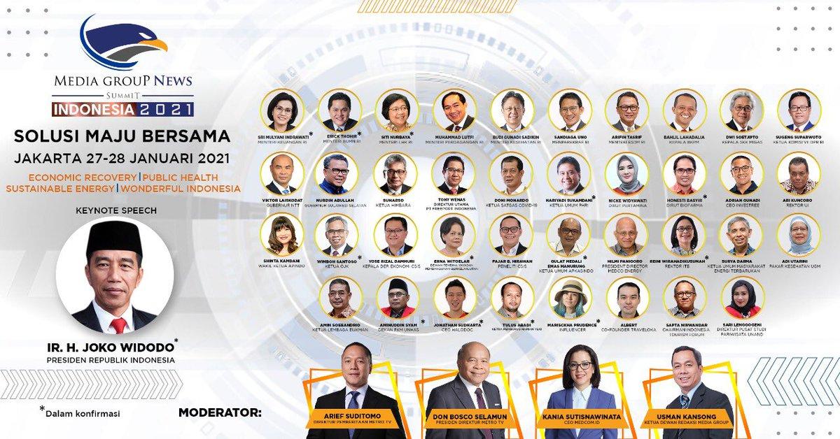 #MediaGroupNewsSummit2021 27-28 Januari 2021. Hybrid summit event bersama pembuat kebijakan, pakar, dan praktisi untuk melahirkan gagasan dan pemikiran baru dalam menghadapi situasi saat ini di bidang ekonomi, kesehatan, energi, dan pariwisata.  #mediagroupnewssummit