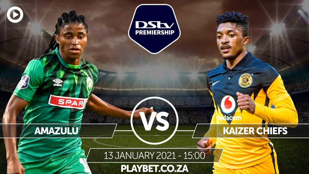 DStv Premiership!  Amazulu vs Kaizer Chiefs,  13 January 2021 | 15:00   ⚽Back your favorite: https://t.co/69kqhv0cXy #PlayTheGame https://t.co/q8UrPShTbs