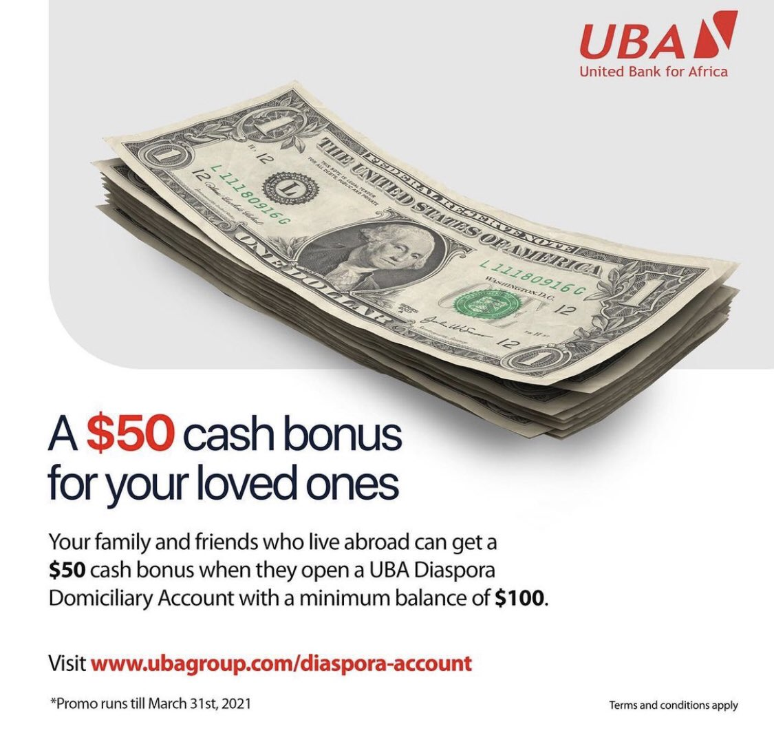 Do you have a relative staying abroad? Share the good news with them!  They can win a $50 cash bonus when they open a #UBADomiciliaryAccount with a minimum balance of $100.  Click here for more information;  #UBACares #AfricasGlobalBank