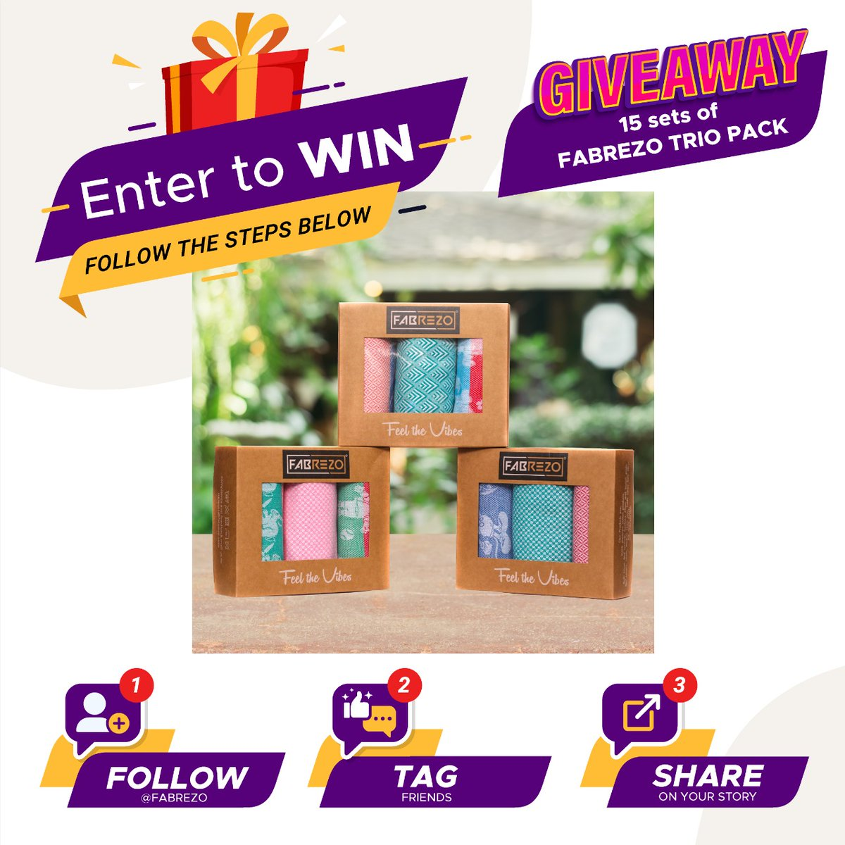 GIVEAWAY CONTEST ALERT !!! Fabrezo is giving away 15 sets of Bath Towel TRIO PACK. Follow the rules below and stand a chance to win this Giveaway  #giveaway #GiveawayAlert #Giveaways #fabrezo #win #HappyPongal #HappySankranti #royalehighgiveaways #vishwamukhaa_trader #competition