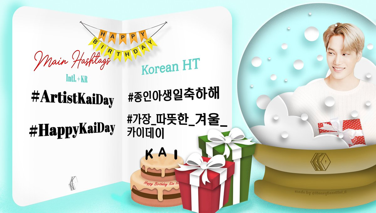 [📣] HASHTAG ANNOUNCEMENT 🎂  To celebrate our Kai's birthday, we are going to use the following hashtags and aim for trending worldwide. 🔥  #️⃣ ArtistKaiDay #️⃣ HappyKaiDay #️⃣ 종인아생일축하해 #️⃣ 가장_따뜻한_겨울_카이데이  ❌ DON'T use before 12AM KST ❌ #KAI #카이 #엑소카이