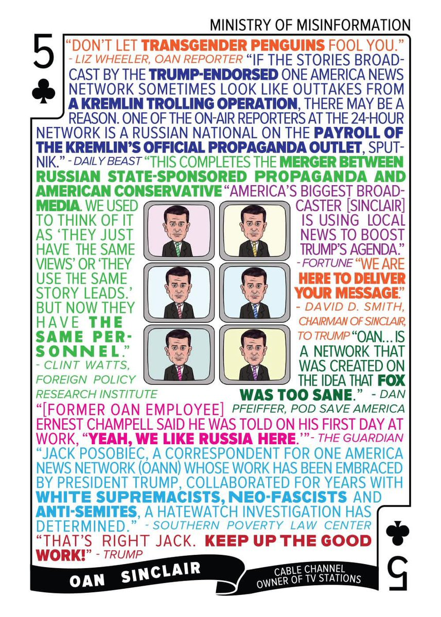 Our 5♣️ cards at https://t.co/33IjBzUT25 feature OAN and Sinclair - the Ministry of Misinformation. OAN is already trying to create January 6th truthers, doing so much damage to the country every day. 7 days to go until Biden takes office! Buy our cards to celebrate! https://t.co/Q7CF2vuBa2