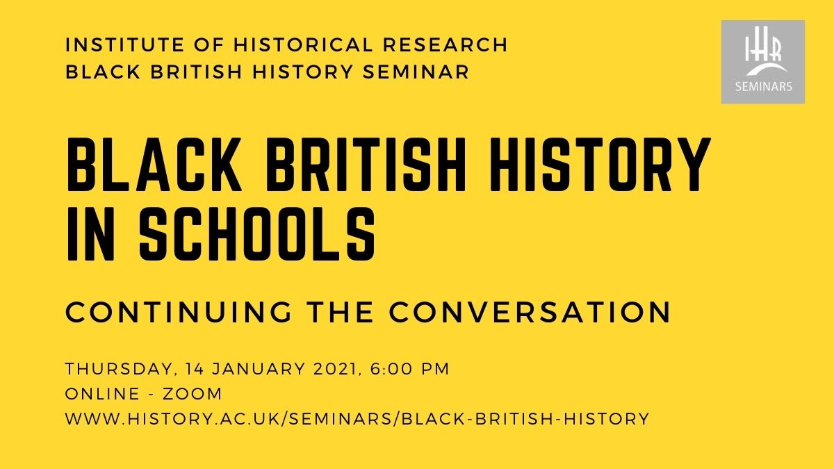 A few tickets left for tomorrow's session! We'll be discussing: ✅ anti-racist teaching ✅ putting Black history in curriculum ✅ new challenges from Covid for curriculum reform ✅ thoughts for publishers and exam boards history.ac.uk/events/black-b… #tbh365 #blackbritishhistory