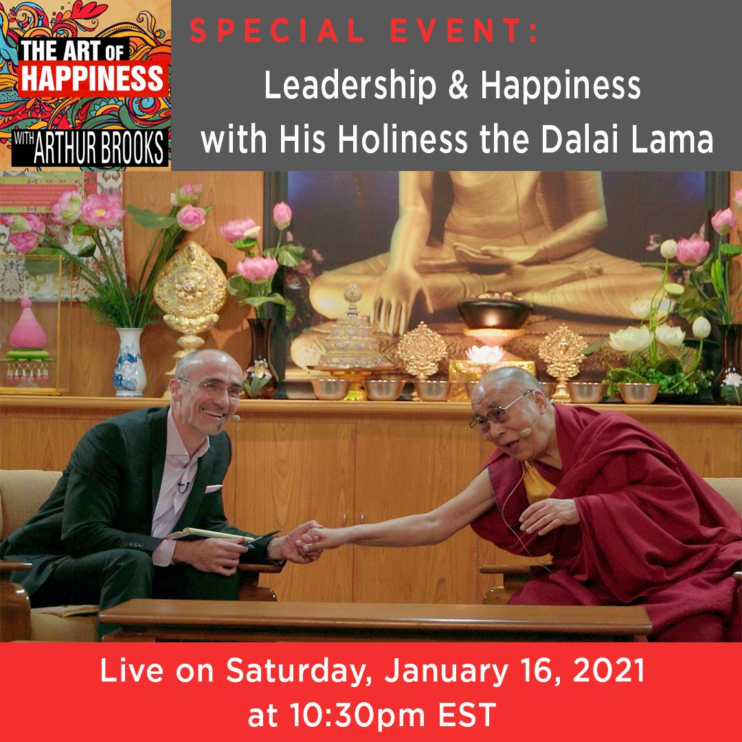 Want a sneak peek at one of the most popular courses @HarvardHBS? Join me for a special event on leadership and happiness with @DalaiLama on January 16 at 10:30pmEST.  Follow me on Facebook or sign up here for the livestream link: