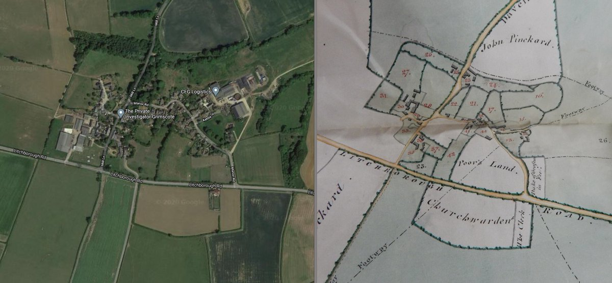 I did say that very little had changed in the parish of Cold Higham ... This is the hamlet of Grimscote today vs Grimscote on an 1813 extinguishment of tithes map. Many of the field boundaries are unchanged, and the size of the settlement has barely increased in 200 years.