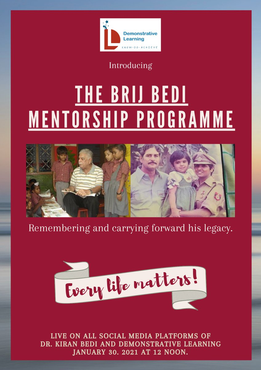 Join us live at 12 Noon, on the 30th of January for the launch of  🌟The Brij Bedi Mentorship Program.🌟 Remembering him with love and carrying forward his legacy.  #brijbedi #mentorshipprogram #remembering #legacy