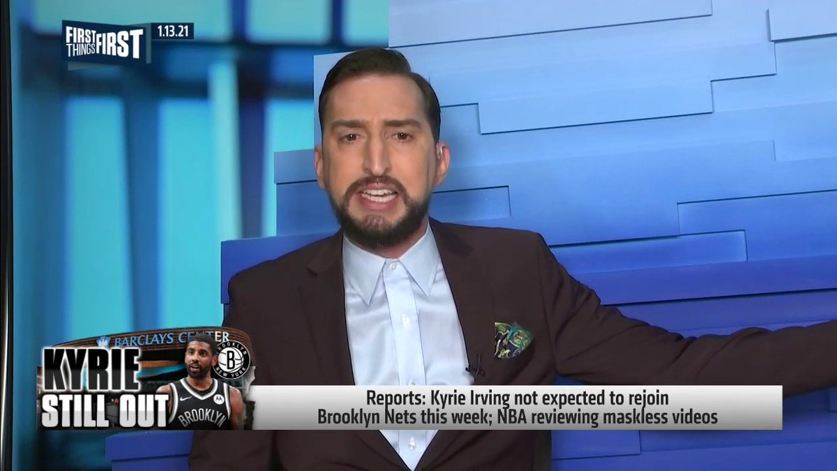 """If Kyrie isn't going to retire, I have this wild, crazy 2021 opinion: Show up to work. ... Kevin Durant could've went anywhere & teamed up w/ anybody. He picked Kyrie, & 2 weeks into the partnership he's taking a leave of absence?"" — @getnickwright"