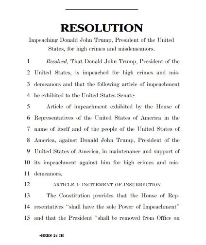 Full text of the impeachment resolution against President Trump.  Vote expected Wednesday afternoon.  Live blog:   Live coverage: