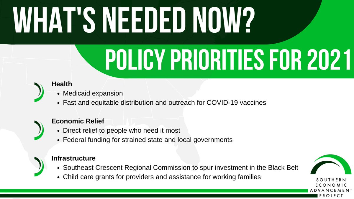 The South lags behind on vaccine distribution, Medicaid expansion, mental health access, poverty, and more. As legislators return to work across the region, tell them no more symbolic bills or half-measures. We know what works and what's needed. Here's what we're asking for 👇
