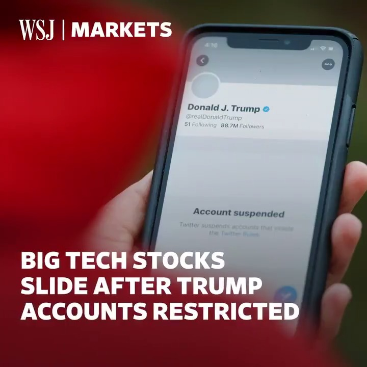 Facebook, Twitter and Alphabet stocks fell after the companies took steps to restrict President Trump's social media accounts. @ahirtens takes a closer look at why. #WSJWhatsNow