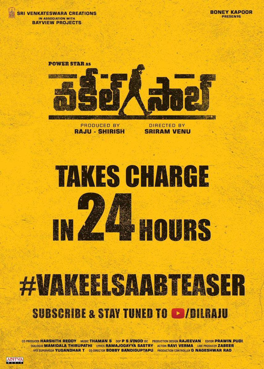 #VakeelSaab takes charge in 24 hours #VakeelSaabTEASER tomorrow at 6:03PM.   Subscribed & Stay tuned to   Powerstar #PawanKalyan  #SriramVenu #shrutihaasan #nivethathomas #anjali #AnanyaNagalla #SriVenkateswaraCreations #BayViewProjOffl #BoneyKapoor #Thaman