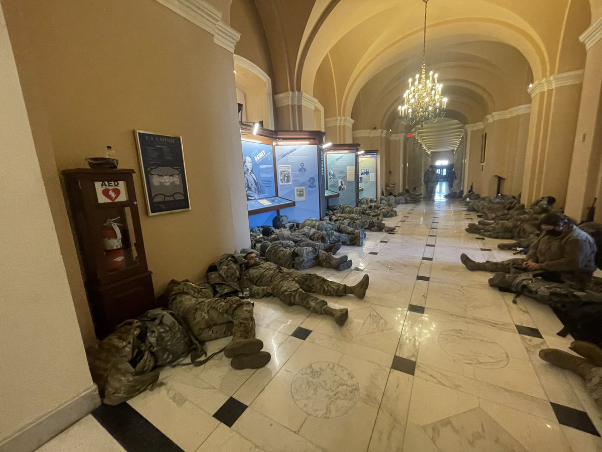 I spotted the National Guard sleeping in the hallways of the Capitol as I walked in this morning. https://t.co/PzVpQCo5yU