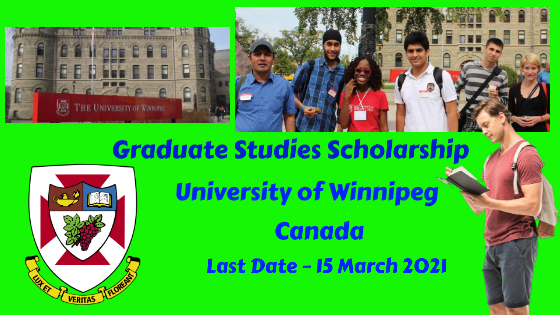 UWGSS Graduate Studies Scholarship at the University of Winnipeg, Canada