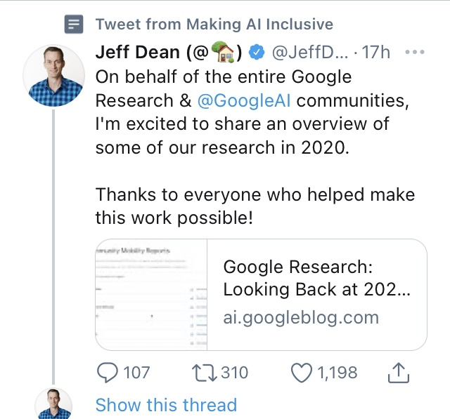 I dont follow Jeff Dean on Twitter, but occasionally see tweets of his in my feed because of this (very ironically named) list I followed a while back...