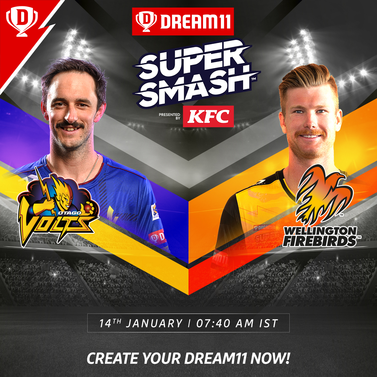 Can #OtagoVolts stop the winning juggernaut of #WellingtonFirebirds when they meet tomorrow in the #Dream11 @SuperSmashNZ? 👀👊  Download the app and create your teams now. Visit: . #SuperSmashNZ