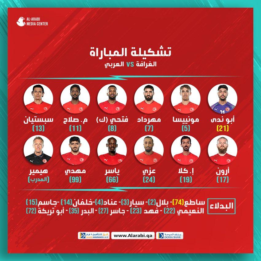 📋 تشكيل فريقنا للقاء اليوم 🔴⚪️  #الغرافة_العربي   الأسبوع ١٤   #دوري_نجوم_QNB 🏆