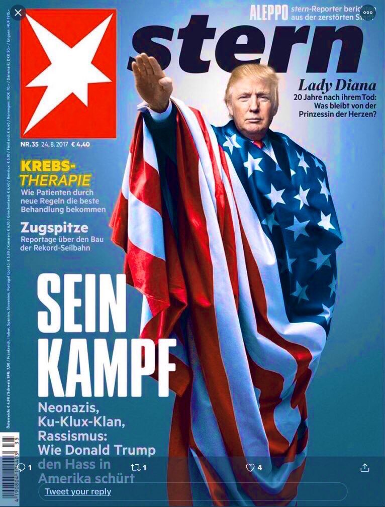 5) So this cover is from a semi-tabloid magazine in Germany, according to @andreafeigl1. But even so, how did such a magazine still get it so damn right?! Maybe Germany 🇩🇪 has seen this kinda fascism before...