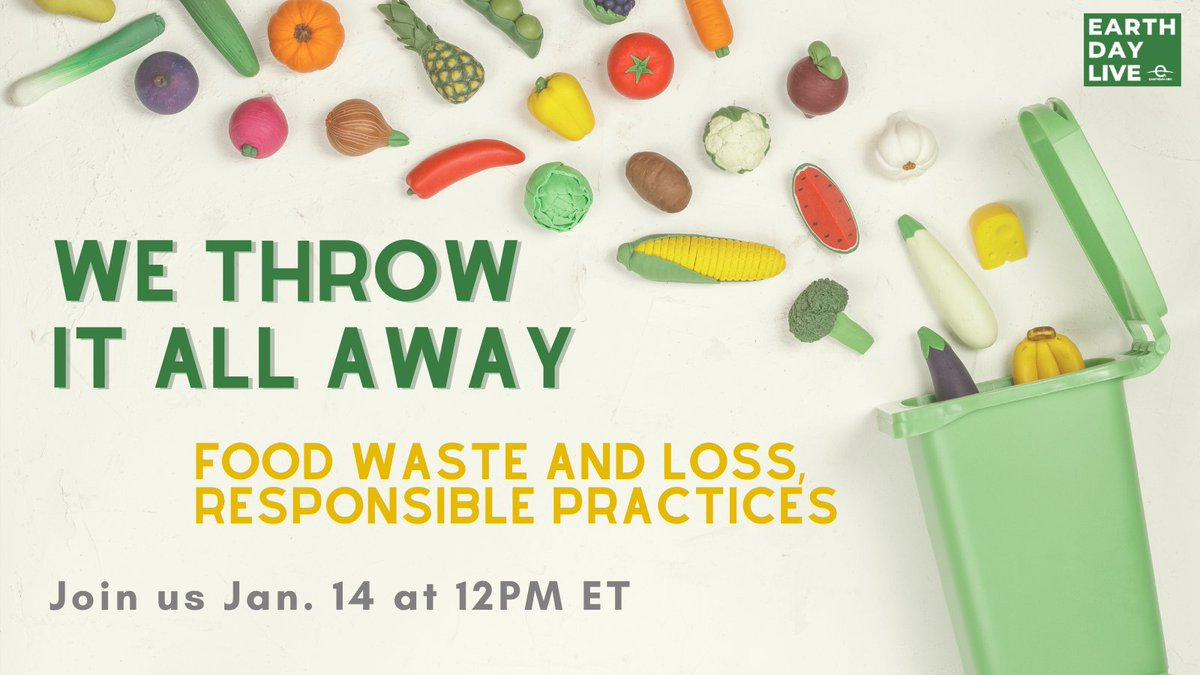 Tune in on Jan. 14 at 12PM ET to watch me alongside a handful of additional food waste experts discuss this urgent problem and offer up innovative solutions.  Register here for the next #EarthDayLive digital event: