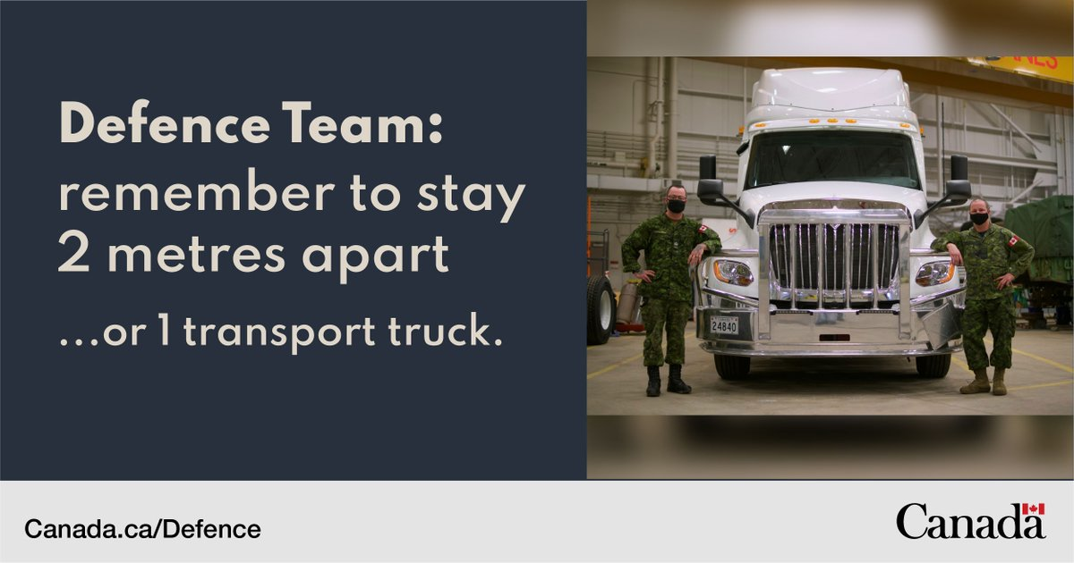 Staying 2 metres apart looks different across the Defence Team. For Cpl Jacques Ethier Masson and MCpl Kenny Heath it means staying at least 1 transport truck apart. canada.ca/en/department-…