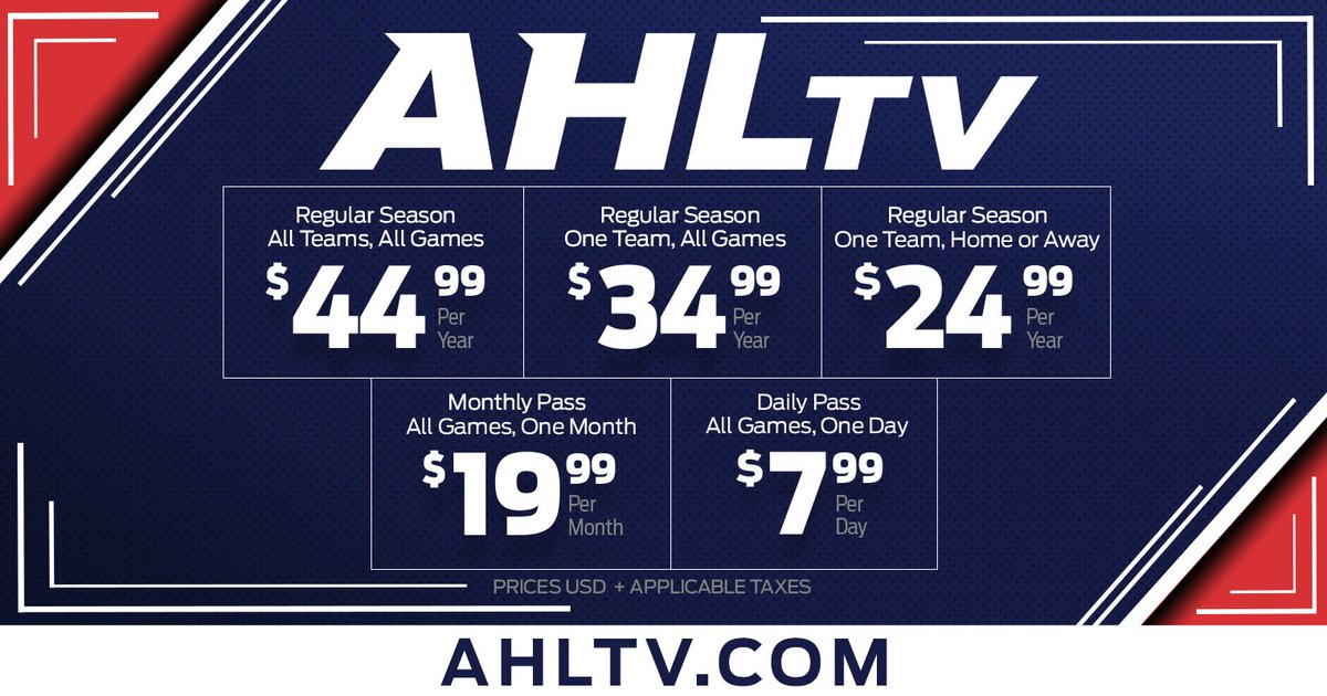 #AHLTV packages are now available for the 2020-21 season.  Watch every regular-season game for just US$44.99!  💻