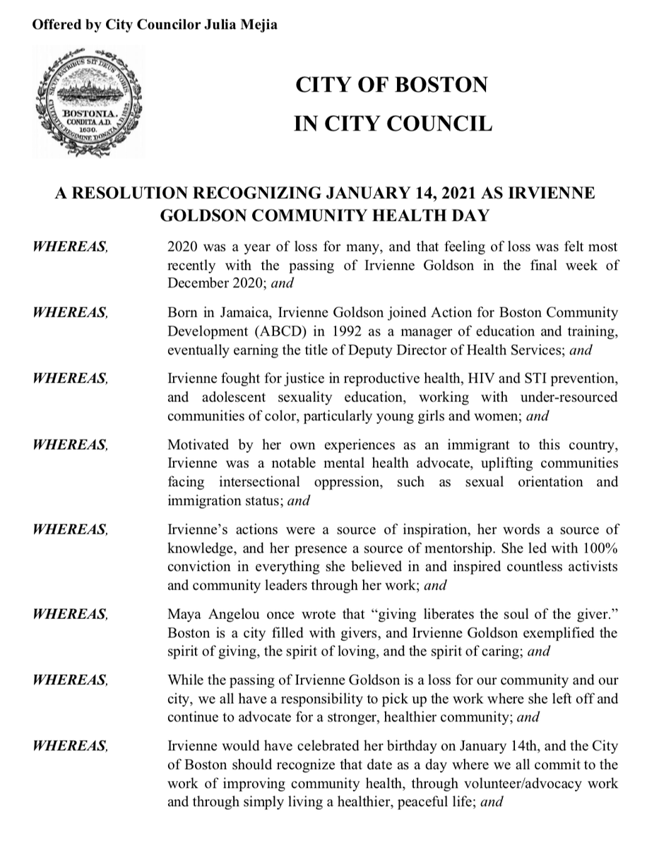 Thx Julia Mejia and @BOSCityCouncil for proclaiming today, Jan 14 — which would have been her birthday — Irvienne Goldson Community Health Day. We, her colleagues of 27 yrs, join you & her beloved community in pledging to carry on her work! #irviennegoldson #Boston
